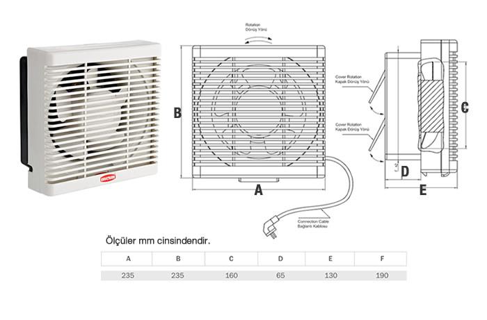 150'lik Çift Yönlü Panjurlu Fan Teknik Özellikleri