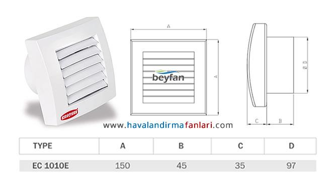 100'lük otomatik panjurlu banyo fanı teknik özellikleri